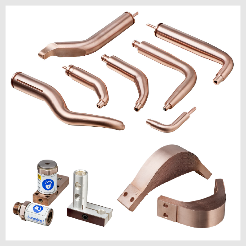 Brazos, adaptadores y electrodos de cobre